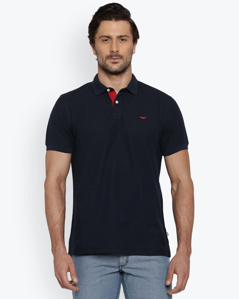 Park Avenue Dark Blue Casual Fit T-Shirt