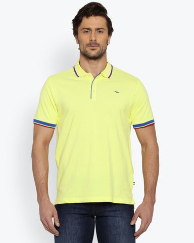 Park Avenue Yellow Casual Fit T-Shirt