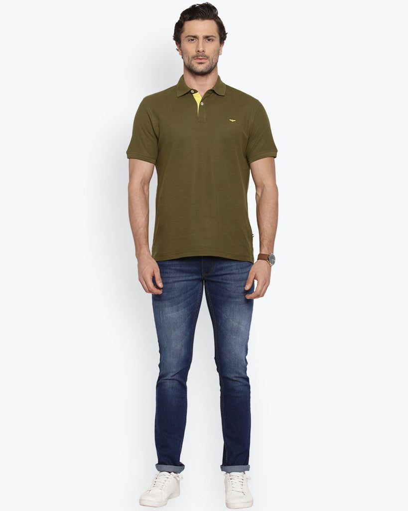 Park Avenue Dark Olive Casual Fit T-Shirt