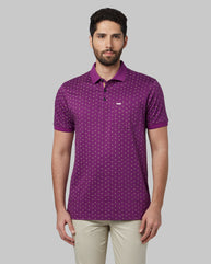 Park Avenue Dark Violet Regular Fit T-Shirt