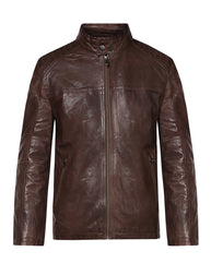 Park Avenue Dark Brown Regular Fit Leather Jacket