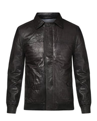 Park Avenue Black Regular Fit Leather Jacket