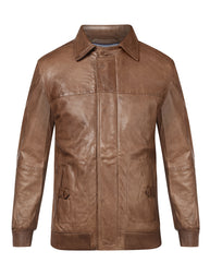 Park Avenue Brown Regular Fit Leather Jacket
