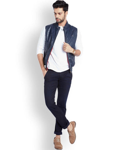 Park Avenue  Blue Regular Fit Outerwear