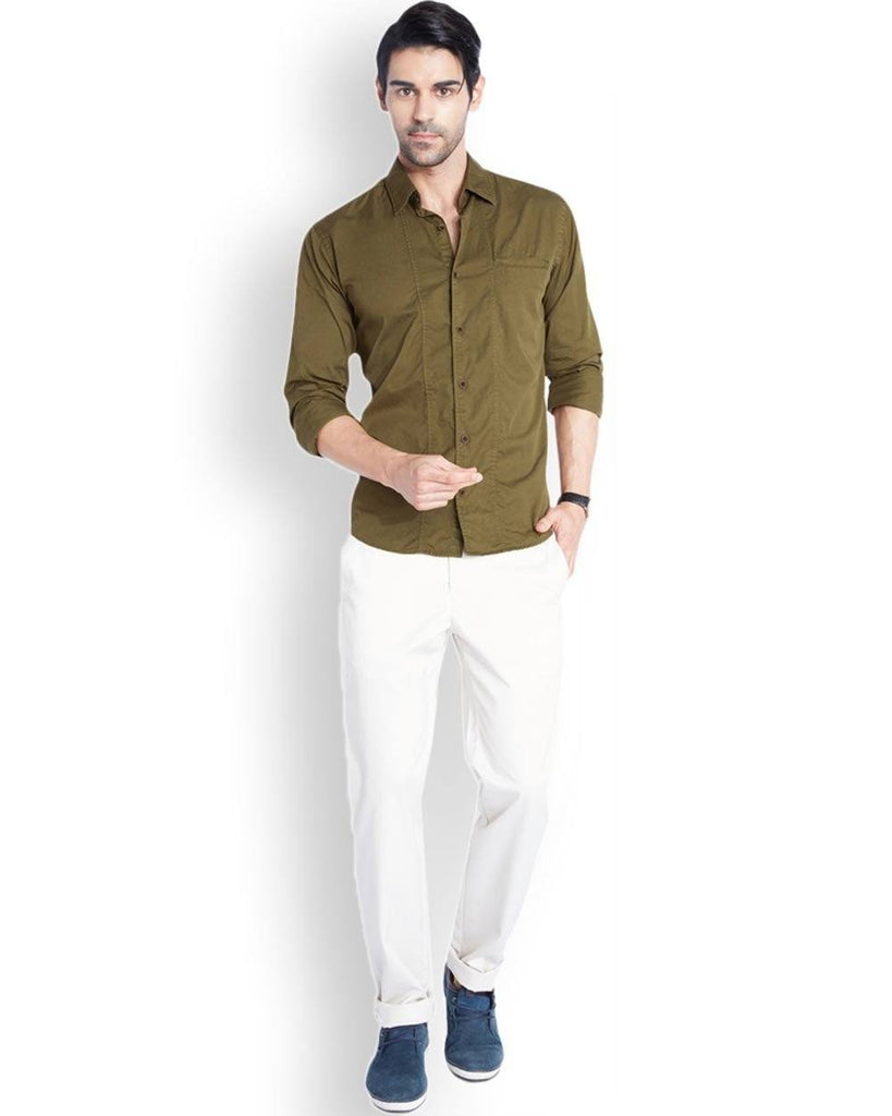 Park Avenue Dark Khaki Slim Fit Shirt