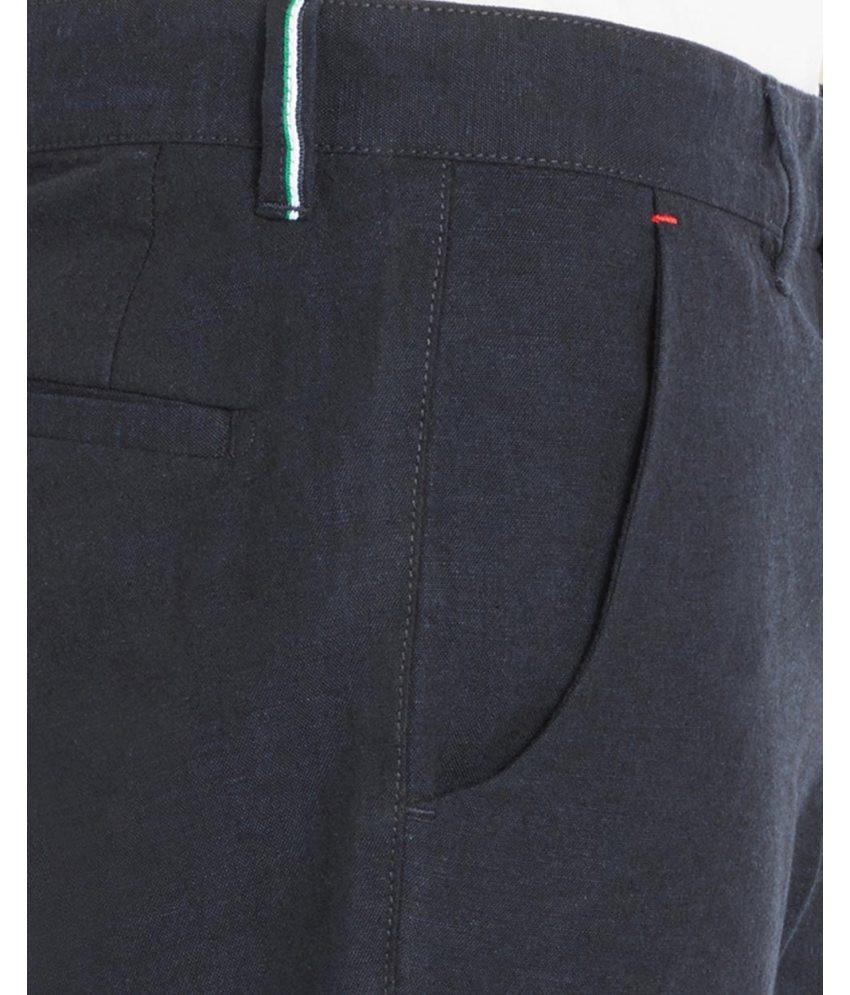 Park Avenue  Blue Low Rise Tapered Fit Trouser