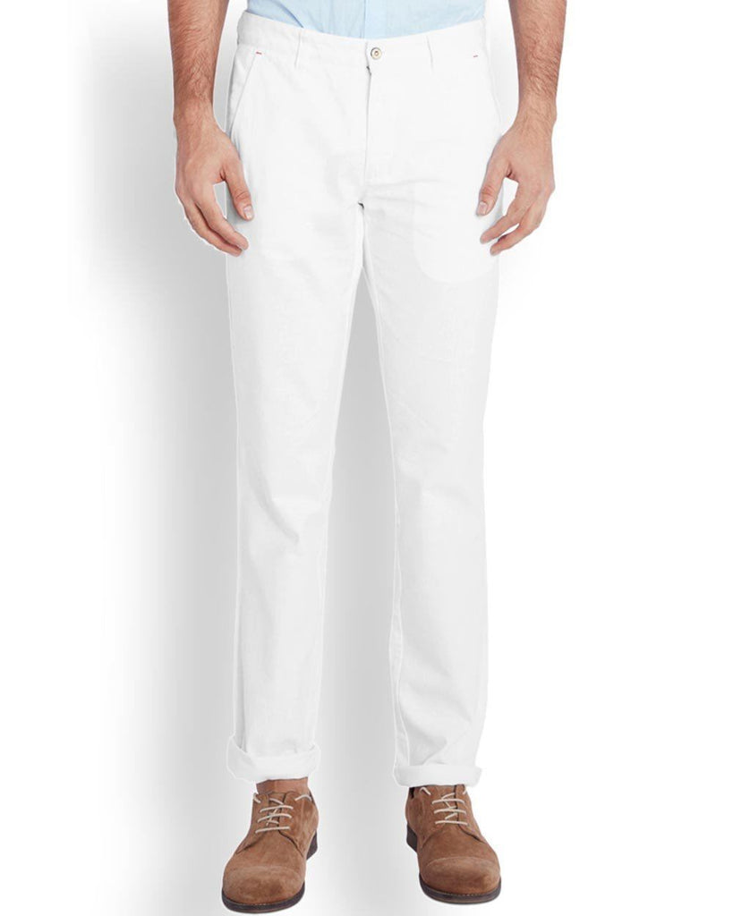 Park Avenue  White Low Rise Tapered Fit Trouser