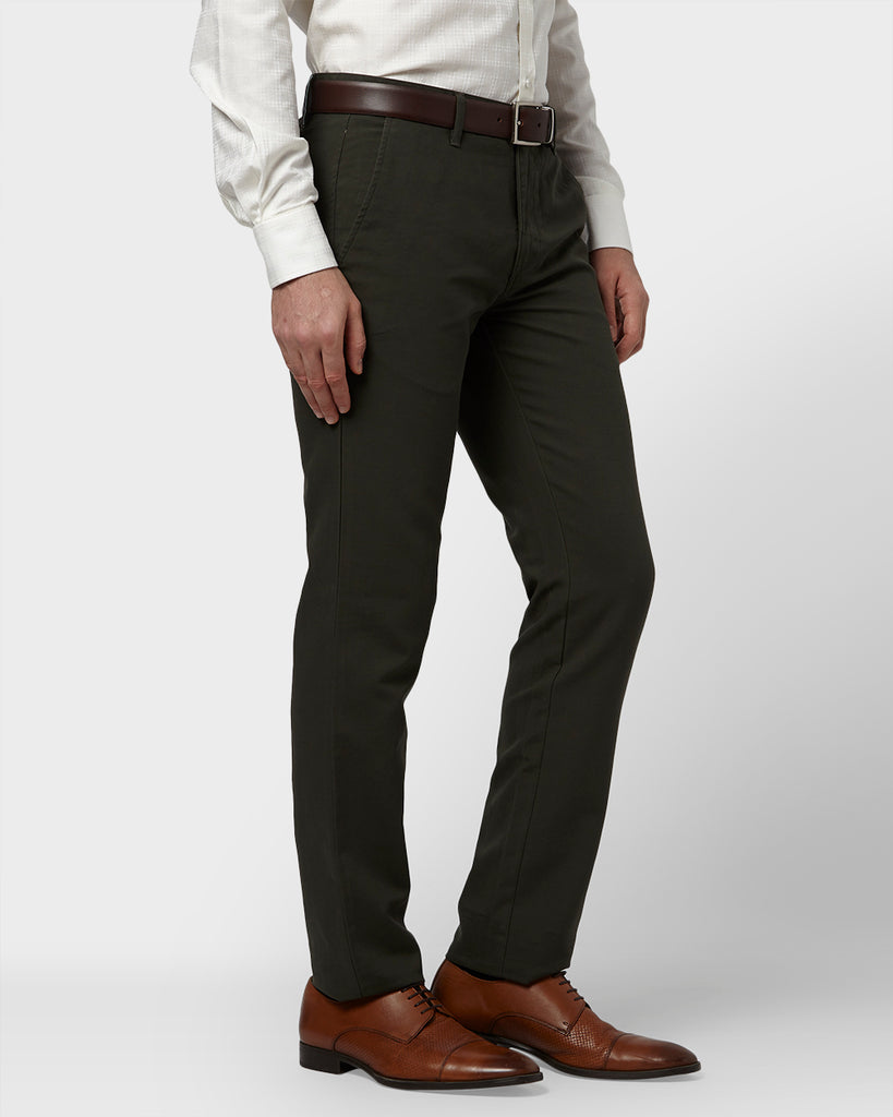 Park Avenue Medium Green Tapered Fit Trouser