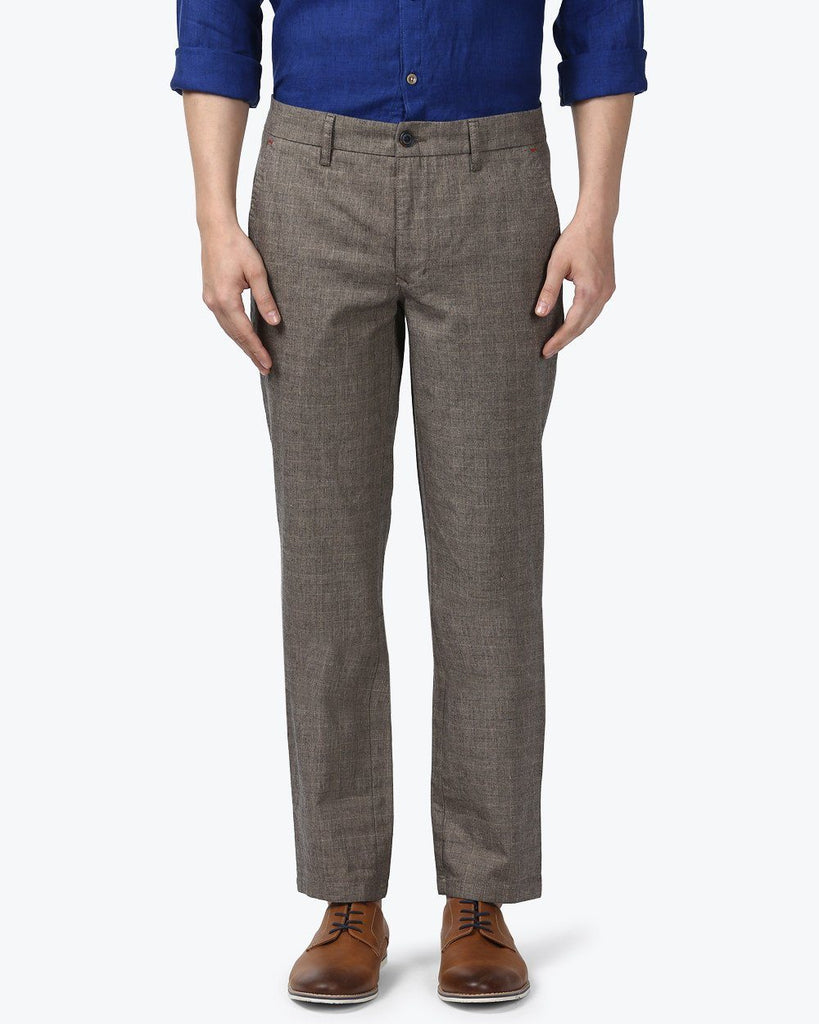 Park Avenue Grey Low Rise Tapered Fit Trouser