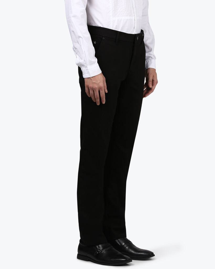 Park Avenue Black Low Rise Tappered Fit Trouser