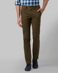 Park Avenue Medium Green Regular Fit Trouser