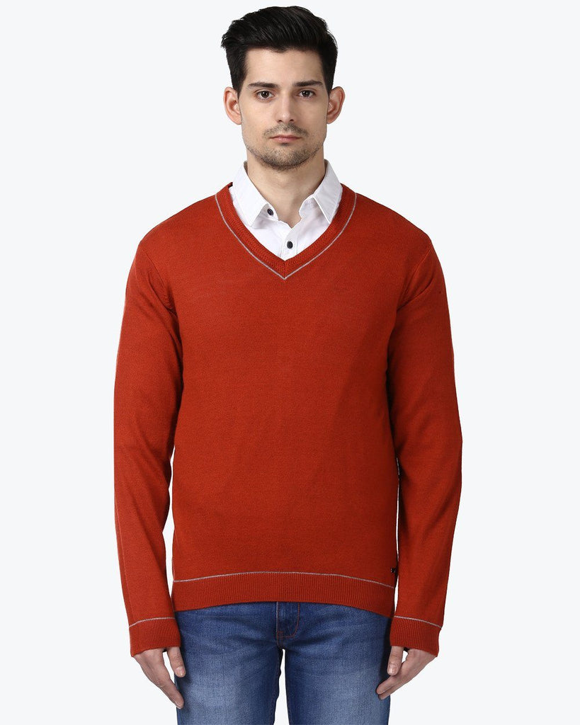 Park Avenue Orange Regular Fit Sweater