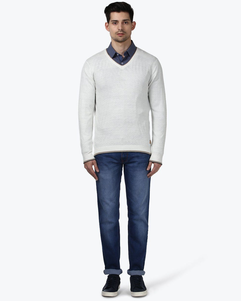 Park Avenue White Regular Fit Sweater