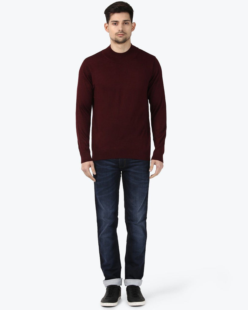 Park Avenue Red Regular Fit Sweater