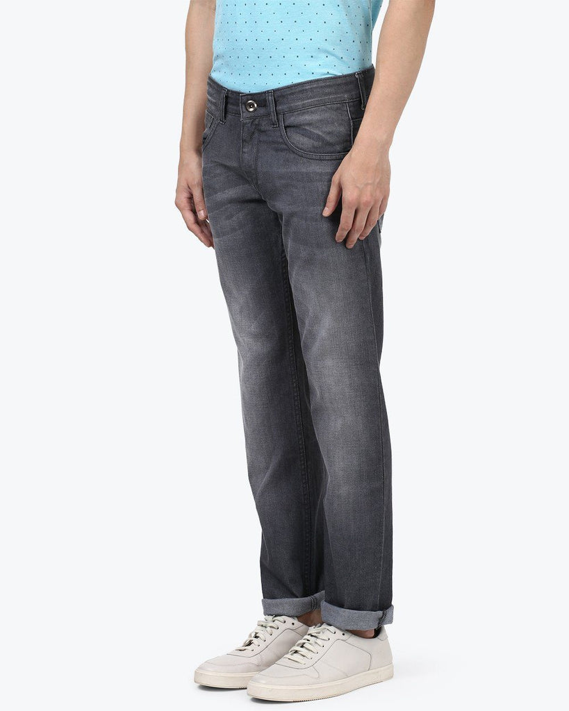 Park Avenue Grey Low Rise Tapered Fit Jeans