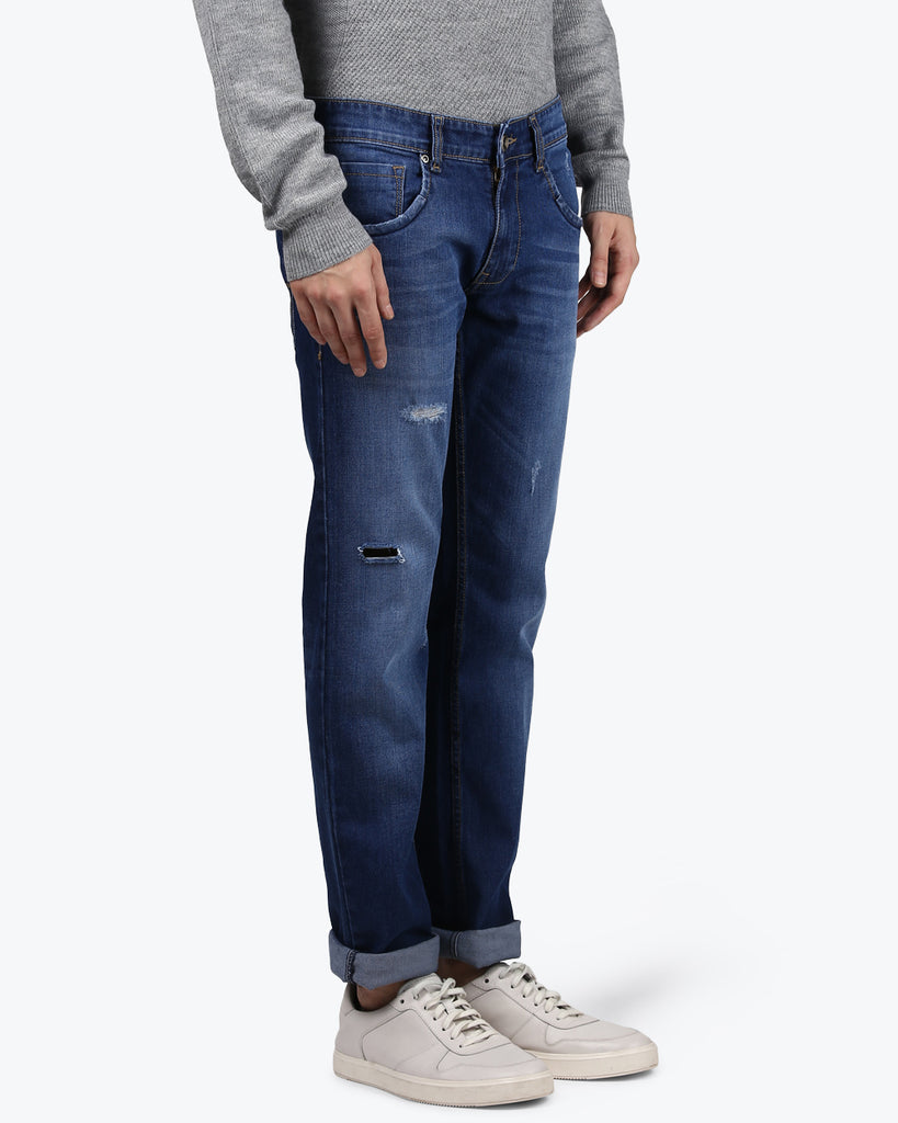 Park Avenue Dark Blue Low Rise Tapered Fit Jeans