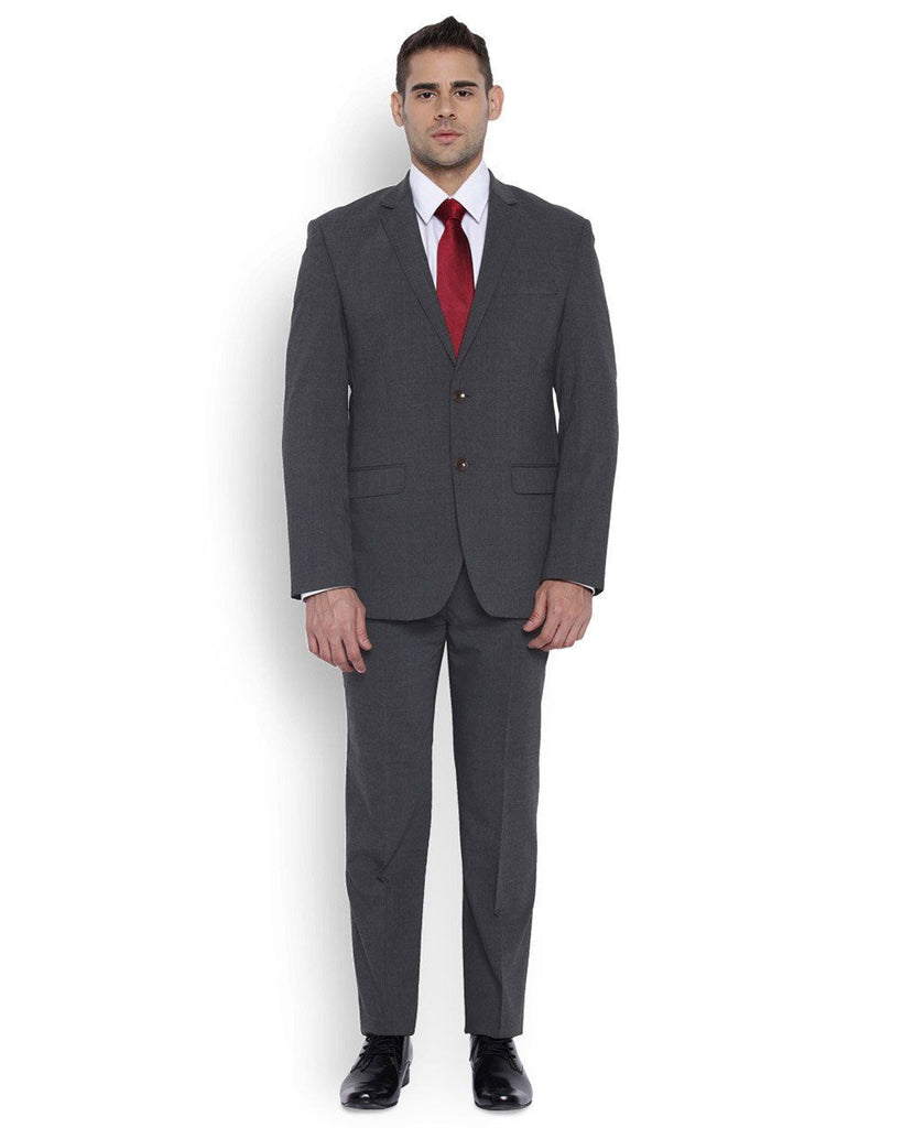 Park Avenue Men Wool Blend Medium Grey Regular Fit Suit