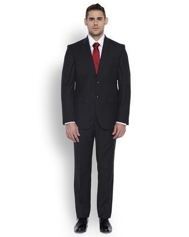Park Avenue Men Wool Black Regular Fit Suit