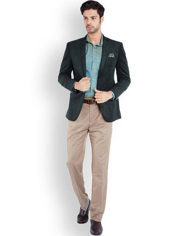 Park Avenue Light Green Regular Fit Jacket