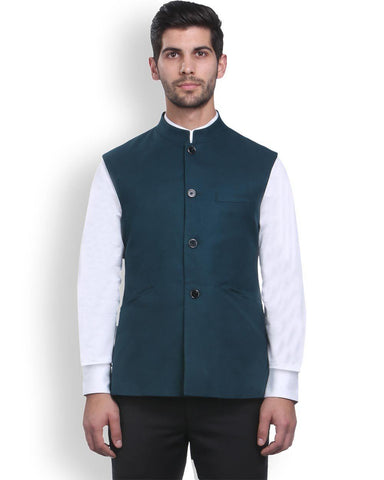 Park Avenue Green Regular Fit Nehru Jacket