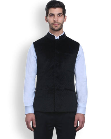 Park Avenue Black Regular Fit Nehru Jacket