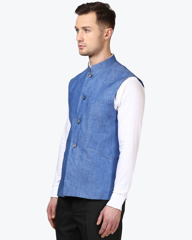 Park Avenue Medium Blue Regular Fit Jacket