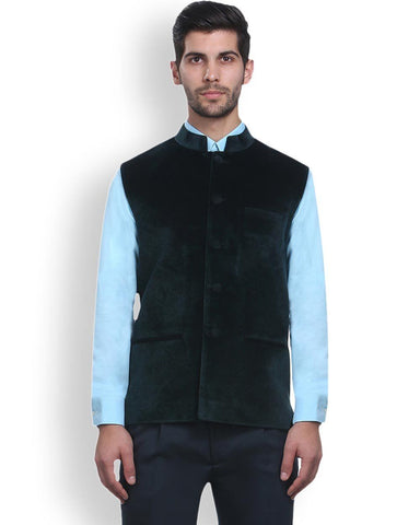Park Avenue Blue Regular Fit Nehru Jacket