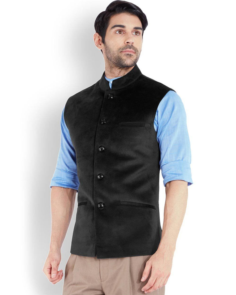 Park Avenue  Black Super Slim Fit Nehru Jacket