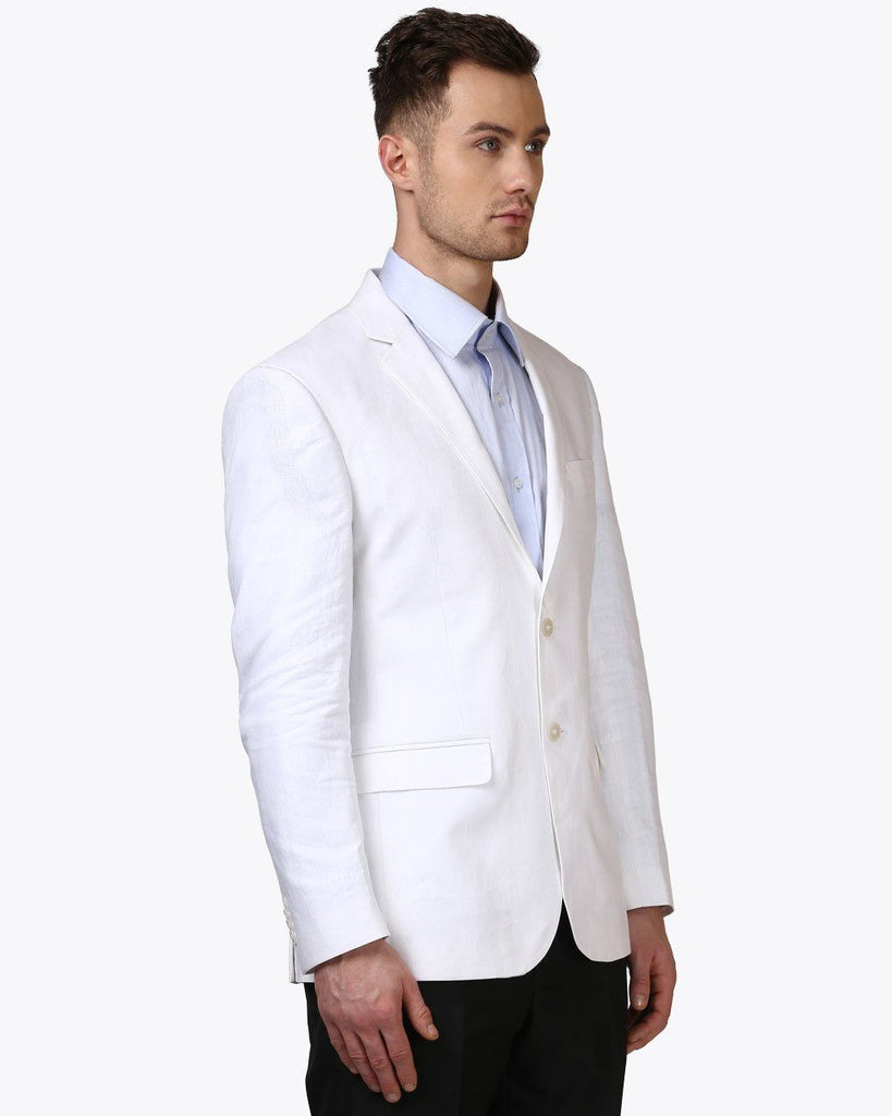 Park Avenue White Regular Fit Jacket