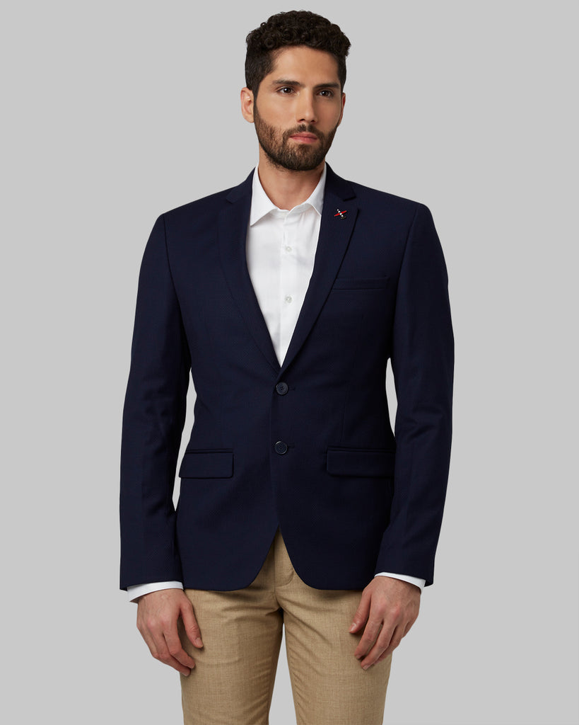 Park Avenue Dark Blue Regular Fit Blazer
