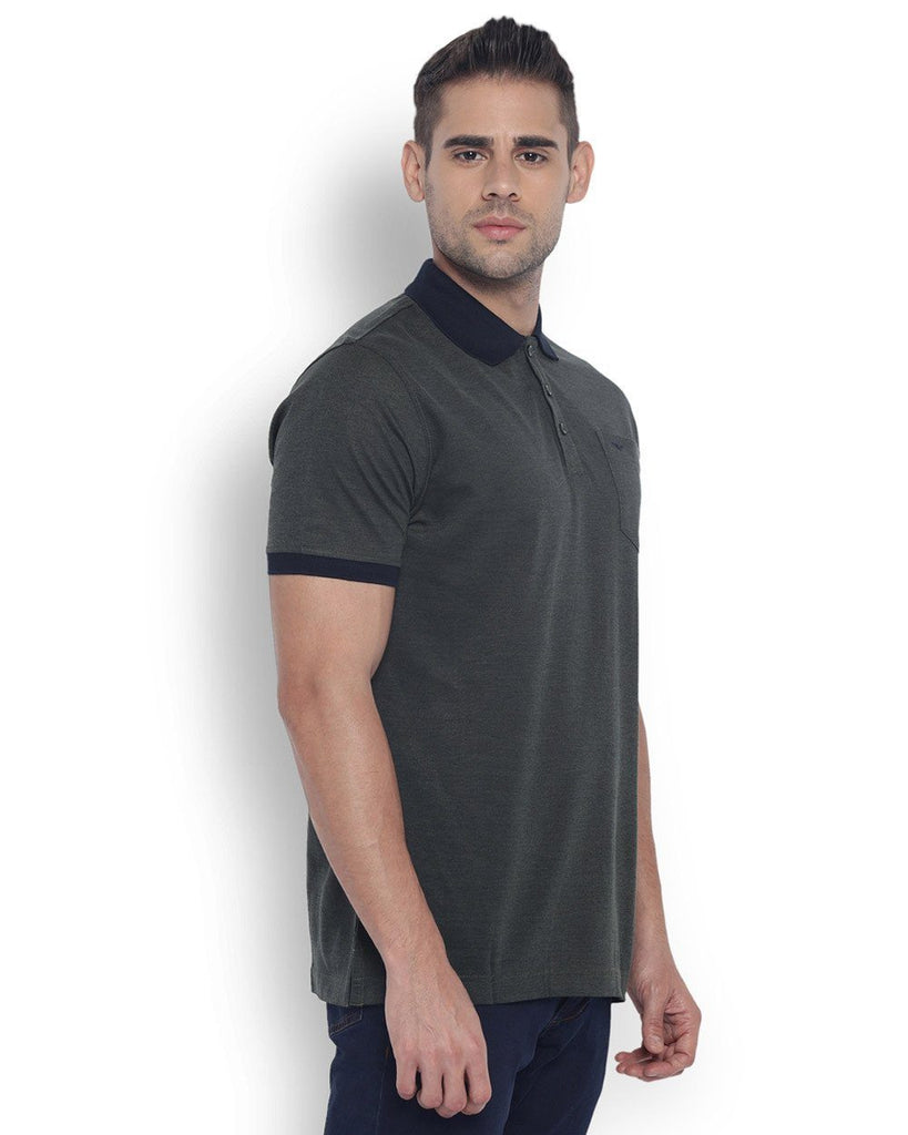 Park Avenue Men Cotton  Green Slim Fit T-Shirt