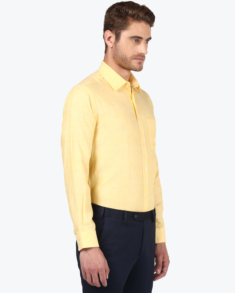 Park Avenue Yellow Regular Fit Shirt