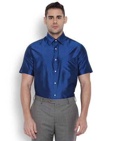 Park Avenue Men Silk Dark Blue Regular Fit Shirts