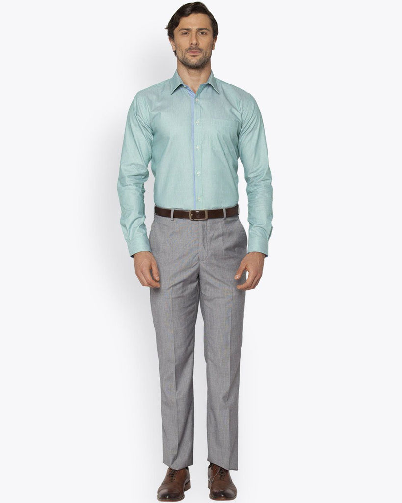 Park Avenue Light Green Slim Fit Shirt
