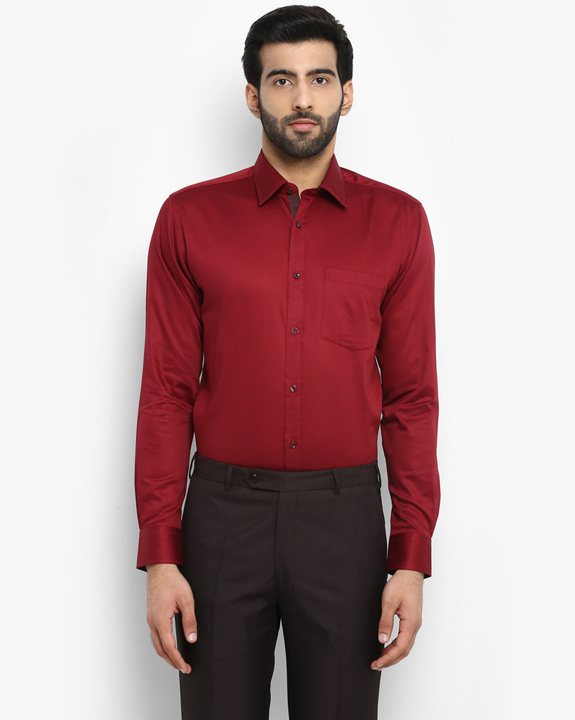 Park Avenue Maroon Slim Fit Shirt
