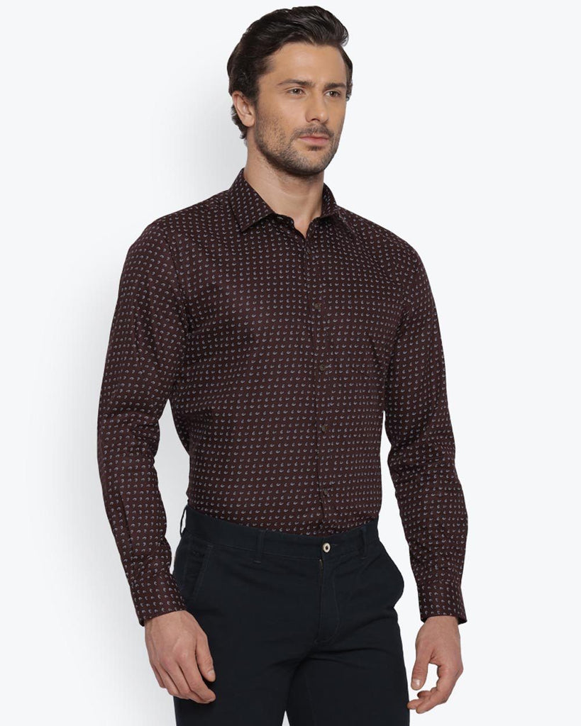Park Avenue Dark Brown Super Slim Fit Shirt