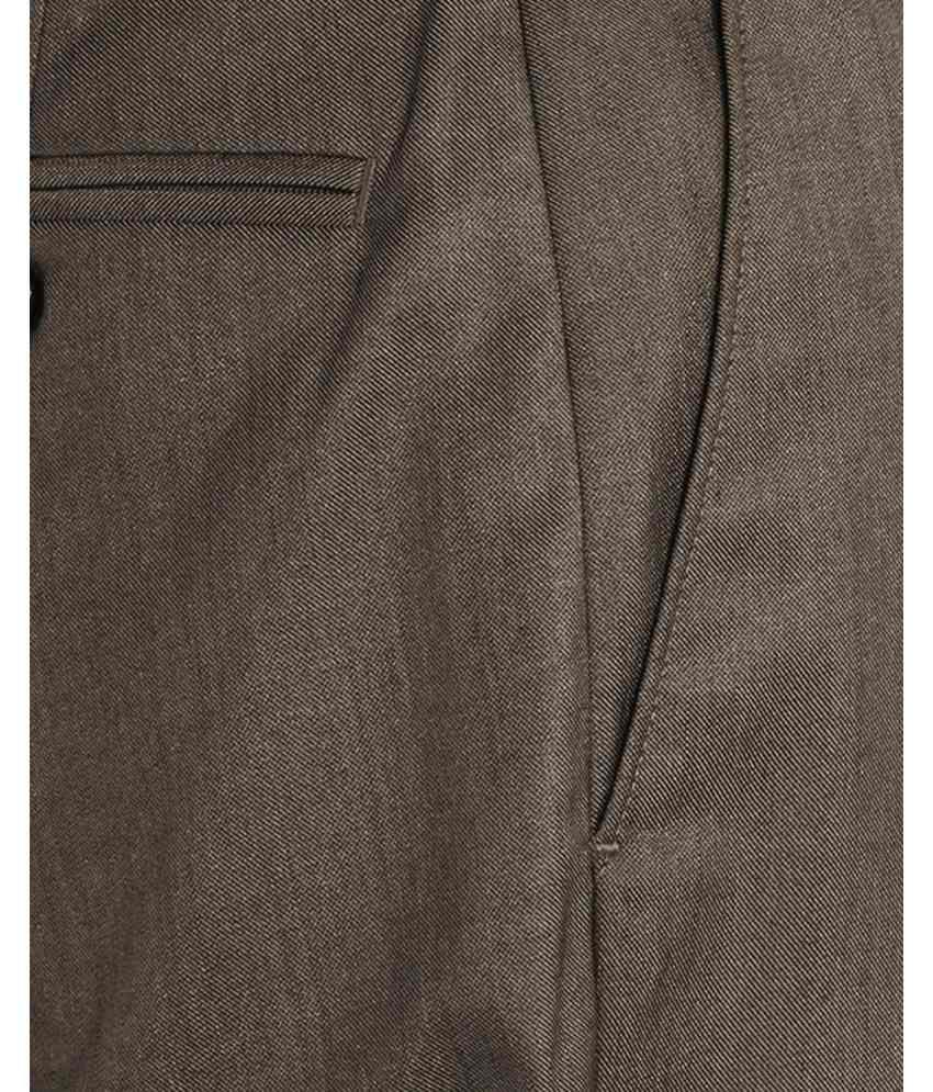 Park Avenue  Brown Slim Fit Trouser