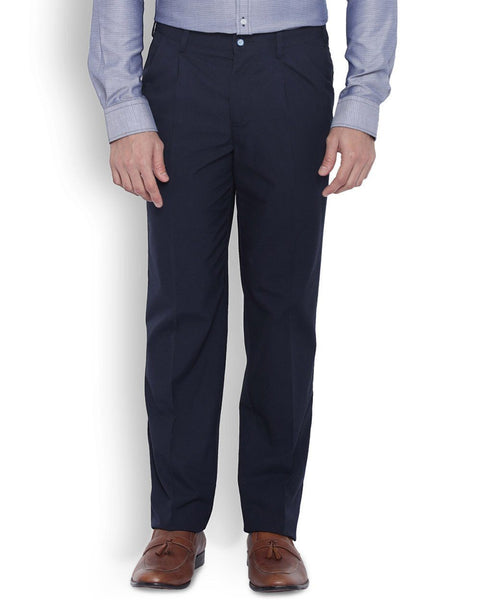 Park Avenue Men Cotton Dark Blue Slim Fit Trouser