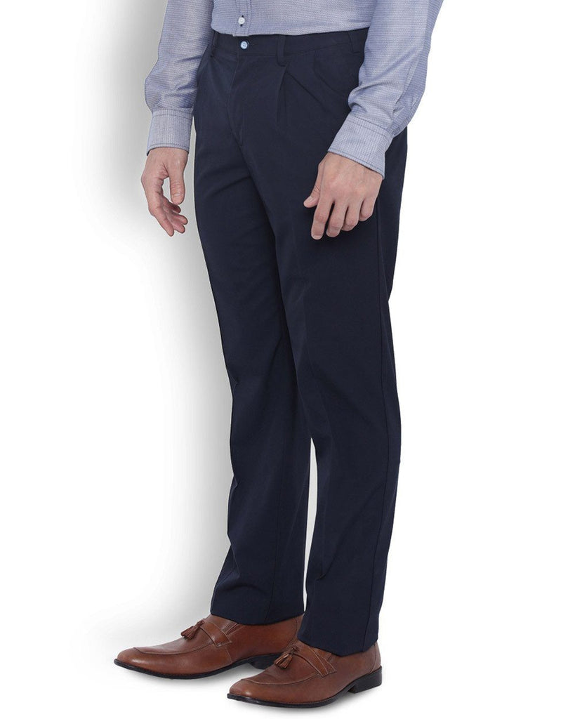 Park Avenue Men Cotton  Blue Slim Fit Trouser
