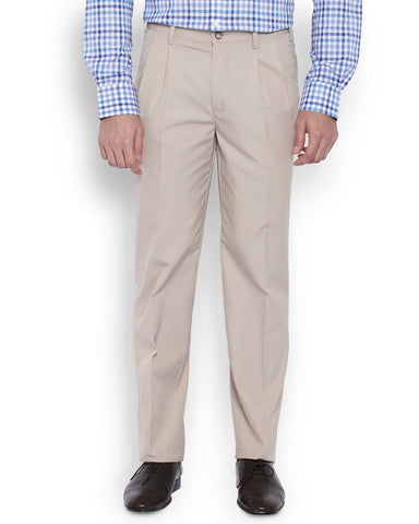 Park Avenue Men Cotton Light Fawn Slim Fit Trouser