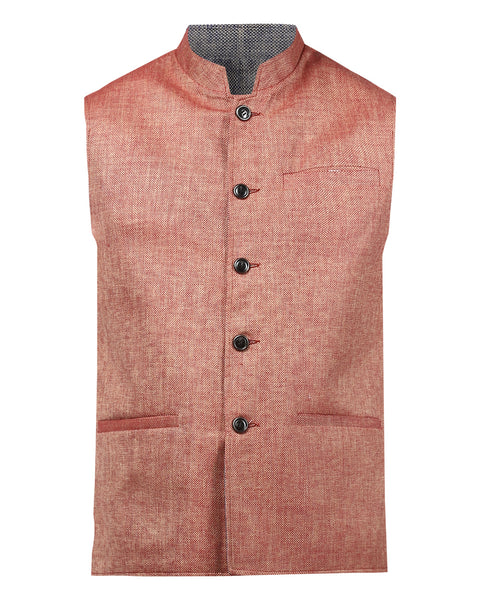 Park Avenue Red Slim Fit Waist Coat