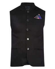 Park Avenue Black Slim Fit Waist Coat