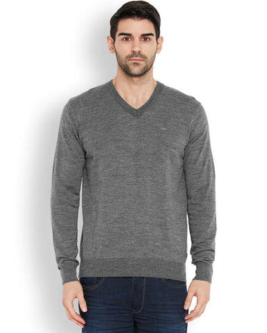 Park Avenue Grey Regular Fit Sweater