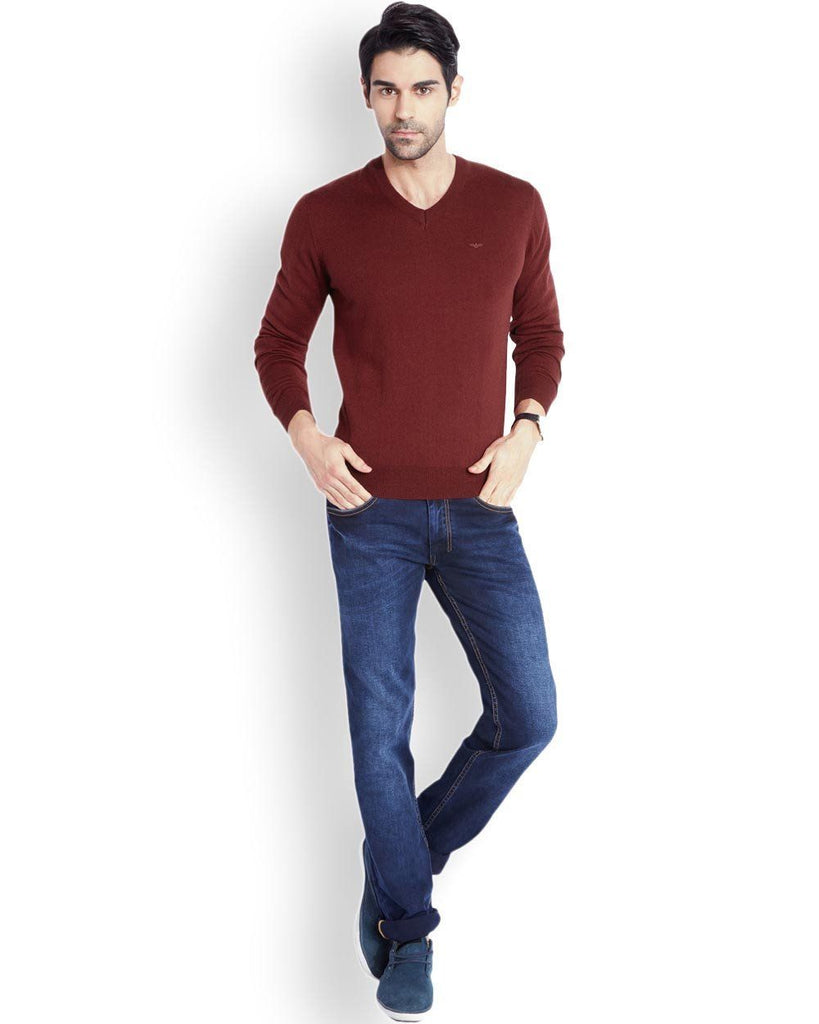 Park Avenue  Maroon Regular Fit Sweater