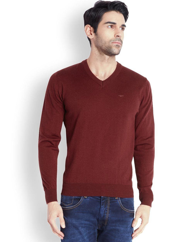 Park Avenue  Maroon Solid Sweater