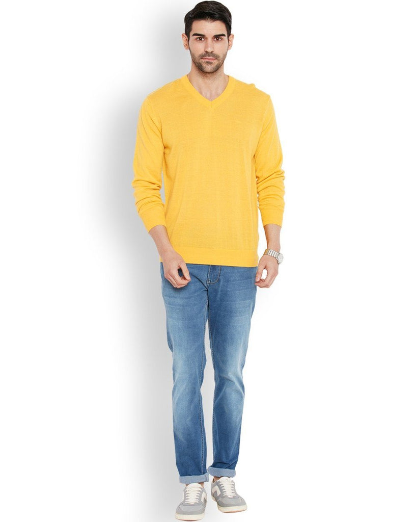 Park Avenue Yellow Solid Sweater