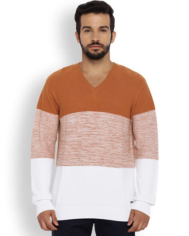 Park Avenue Medium Orange Regular Fit Sweater