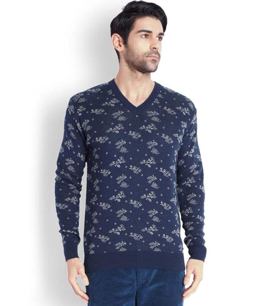 Park Avenue  Blue Printed Sweater