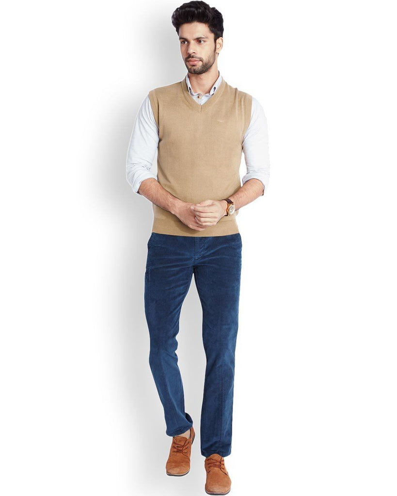 Park Avenue  Beige Regular Fit Sweater