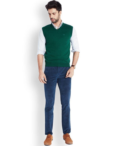 Park Avenue  Green Regular Fit Sweater